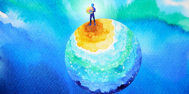 watercolor of person standing on earth healing the planetary waters