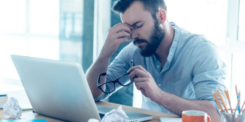 Man frustrated at work