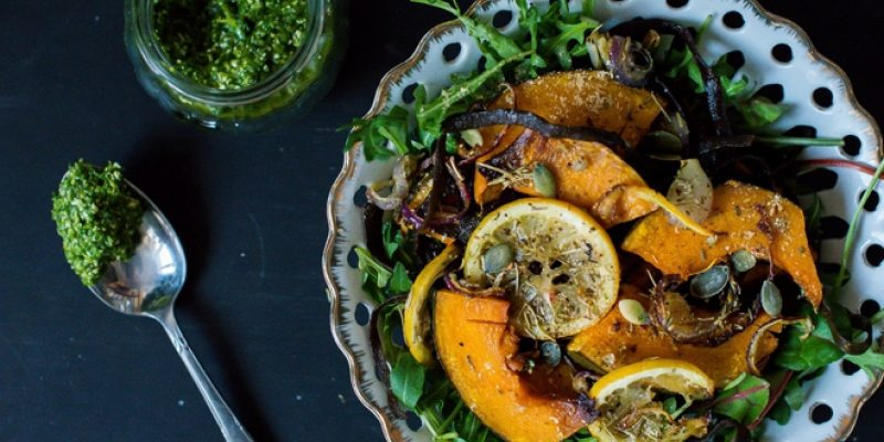 Pumpkin salad with sea spaghetti