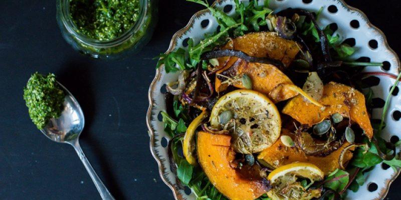 Pumpkin salad with sea spaghetti