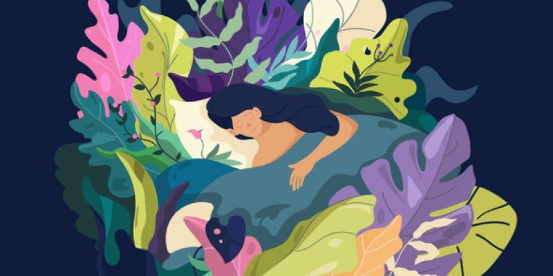 Woman sleeping illustration