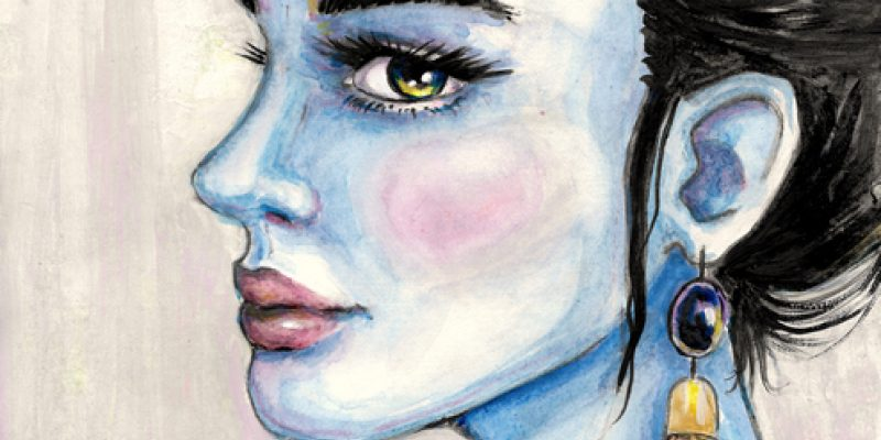 Portrait of a blue lady