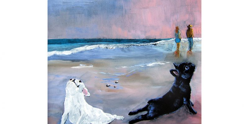 Two dogs doing yoga on the beach