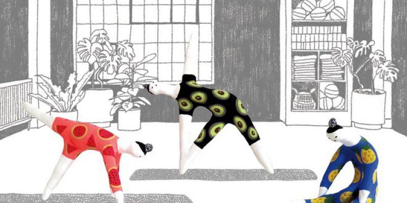 Illustration of dolls doing yoga