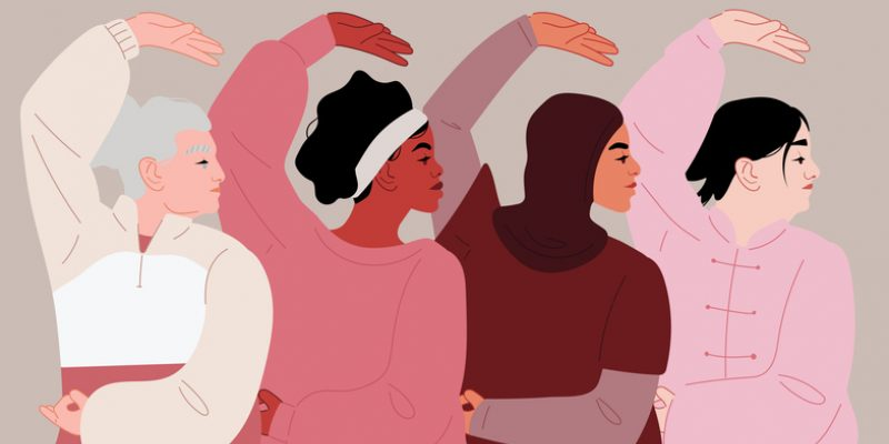 Illustration of women of many ethnicities and races practicing tai chi for the benefits of tai chi