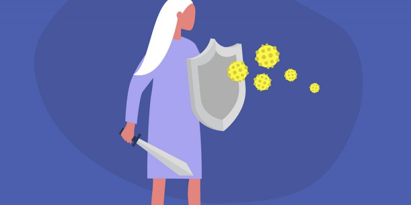 vector of woman fighting off infection with shield to boost immunity at night with sleep