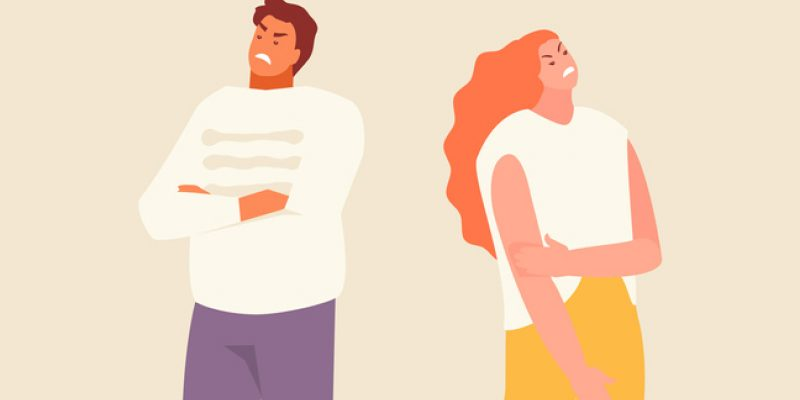 Vector of woman and man with backs turned to one another in anger