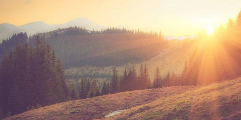 light on rolling hills