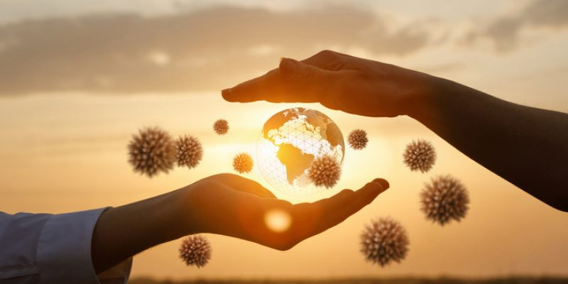The concept of protecting the world from coronavirus, community, togetherness