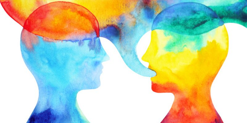 Artistic depiction of two people talking