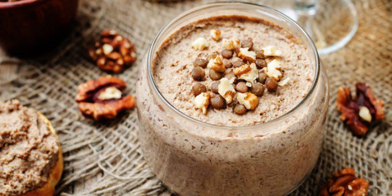 Mushrooms, walnuts, green lentil pate