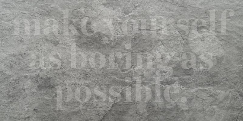 "Grey rocky background with text ""make yourself as boring as possible"""