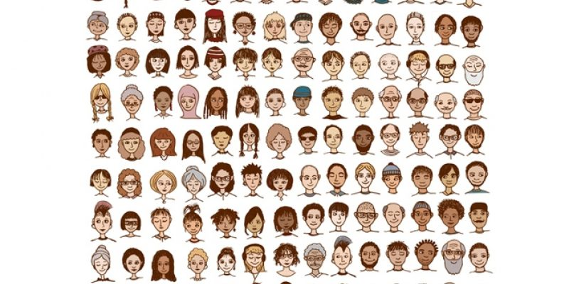 Illustration of many faces