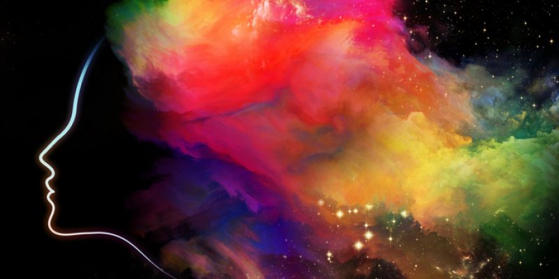 Menopause symptoms face with explosions of colorful powder abstract