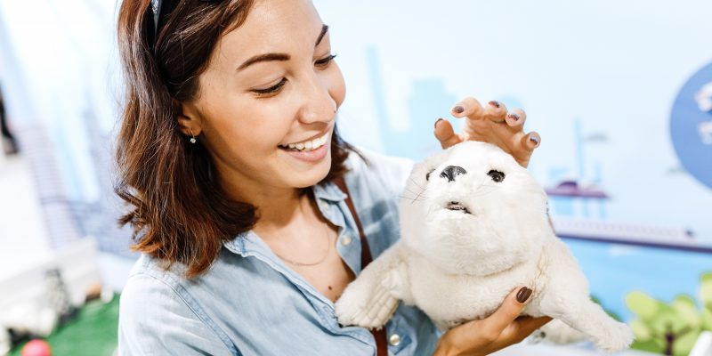 Robopets woman with toy animal plushy