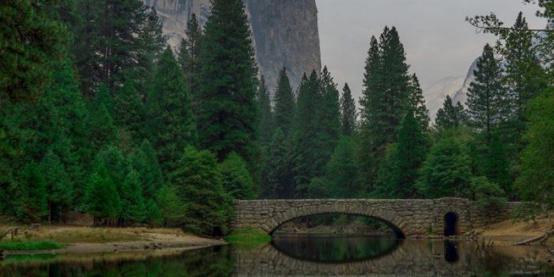 A bridge in a beautiful mountain setting