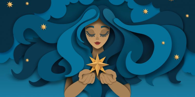 vector of woman holding star supplements for sleep