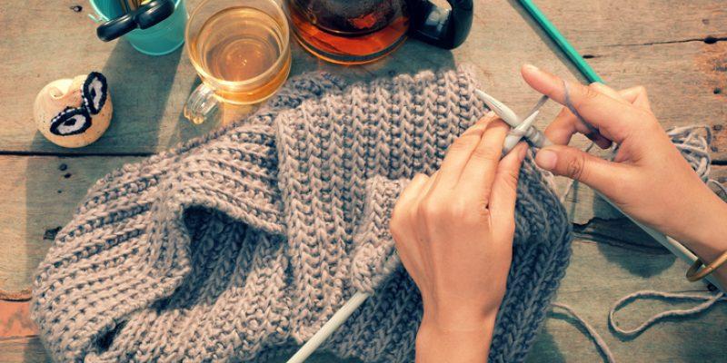 Woman's hands knitting