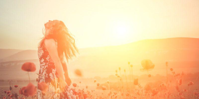 Dancing in a flower field