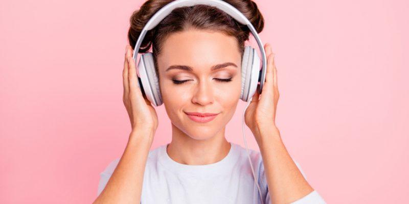 woman with earphones on