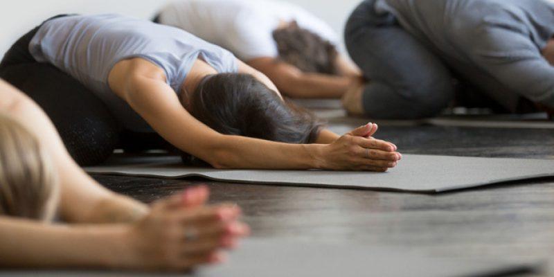yoga class child's pose