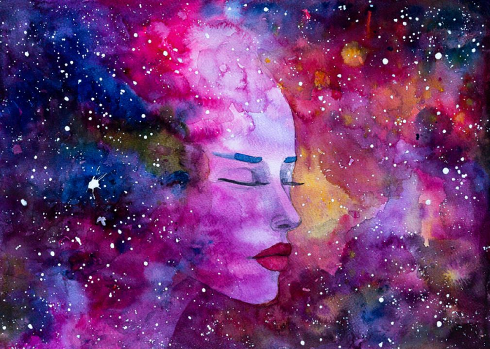 Watercolor painting of a beautiful woman Space Nebula