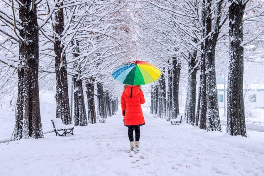 Girl with a colorful umbrella