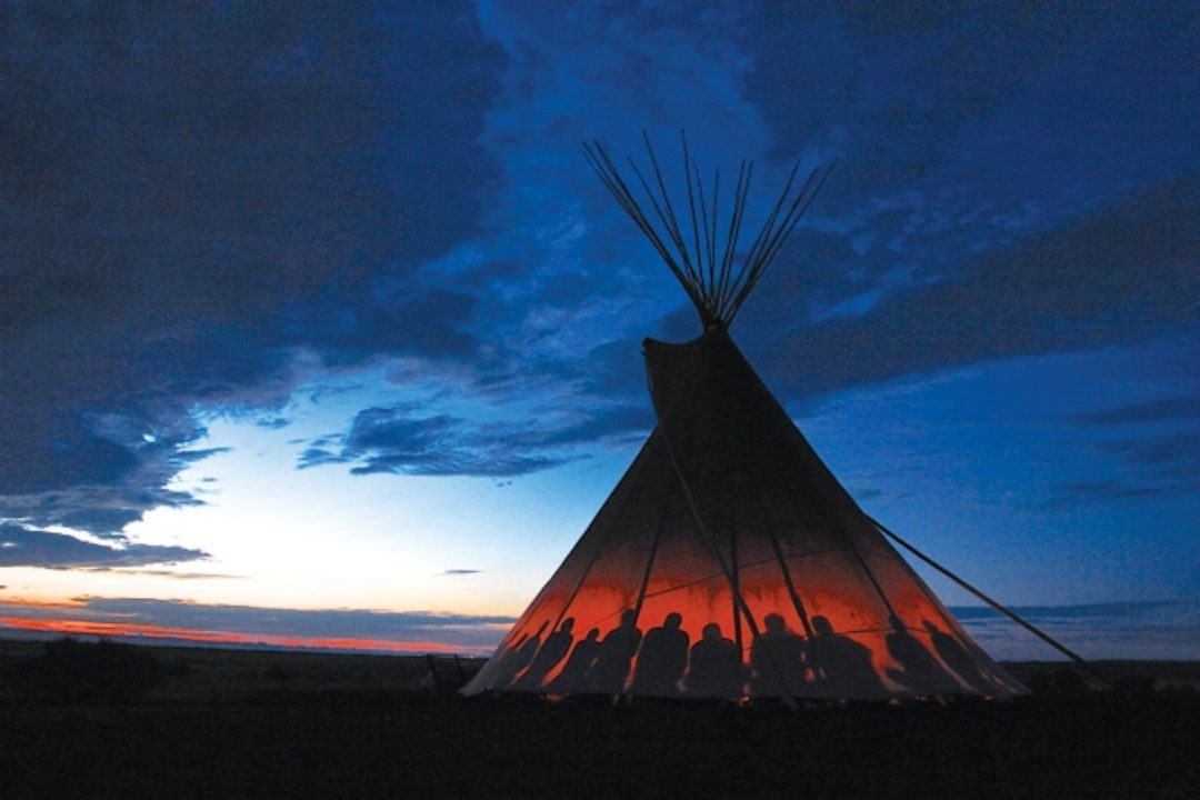 teepee with silhouettes