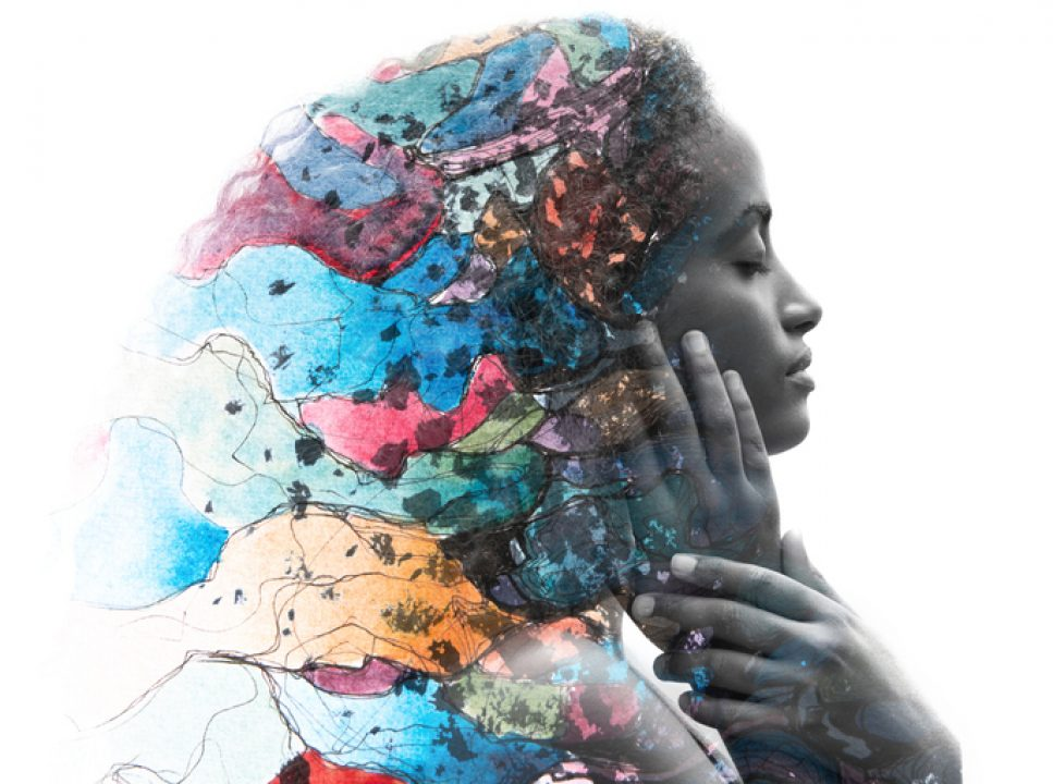 Black History Month events, expressed via a creative portrait of a Black woman mixed with a hand drawn illustration.
