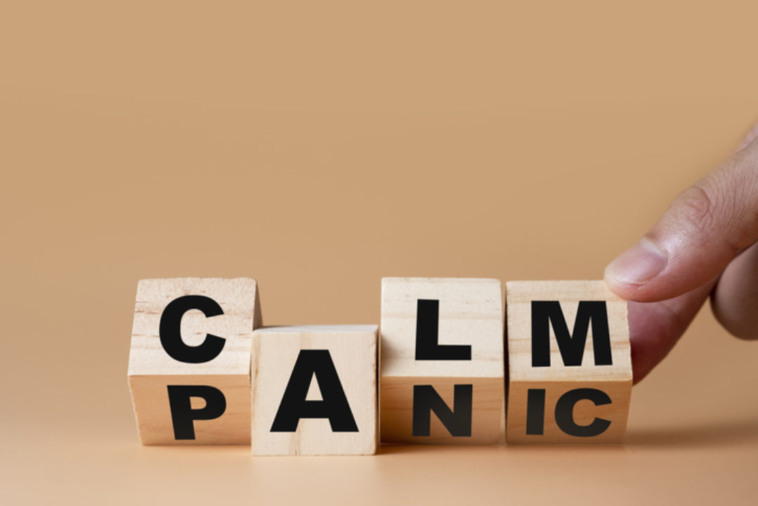 Blocks spelling calm and panic