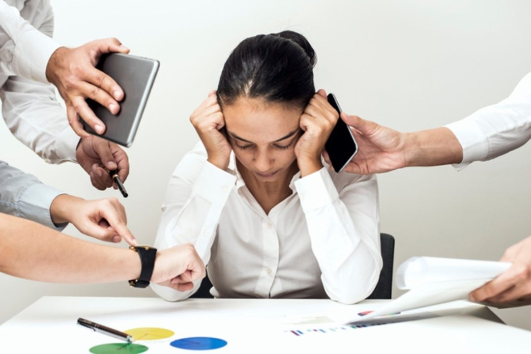 Woman experiencing burnout at work