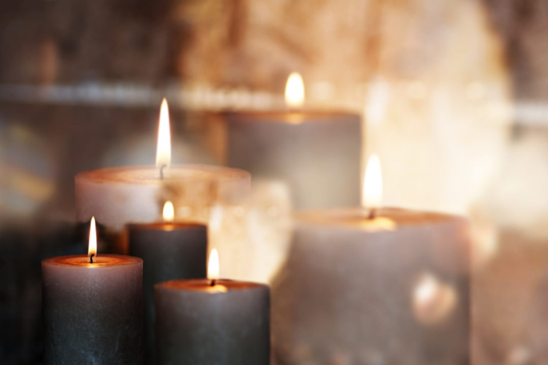 Candles burning on an altar
