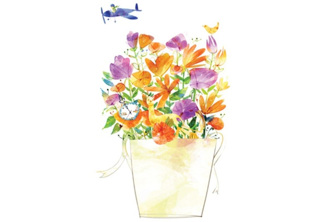 Illustration of colorful flowers and objects