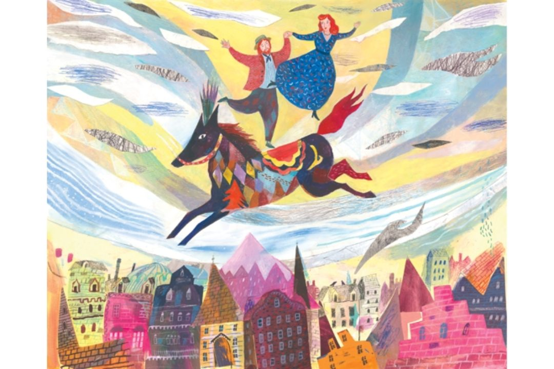 Illustration of couple dancing on colorful horse above city