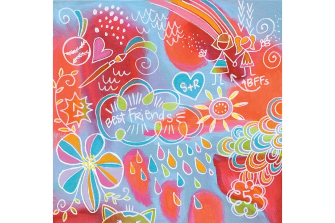 Bright-colored collaborative painting