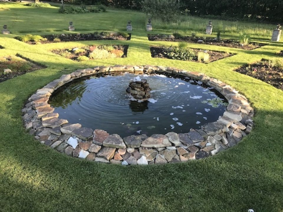 The pond at the center of the garden