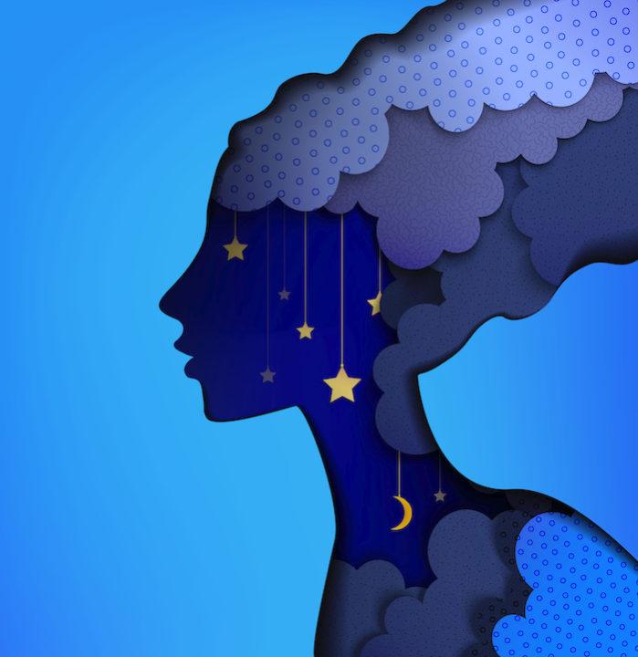 fairy dream concept, blue illustration