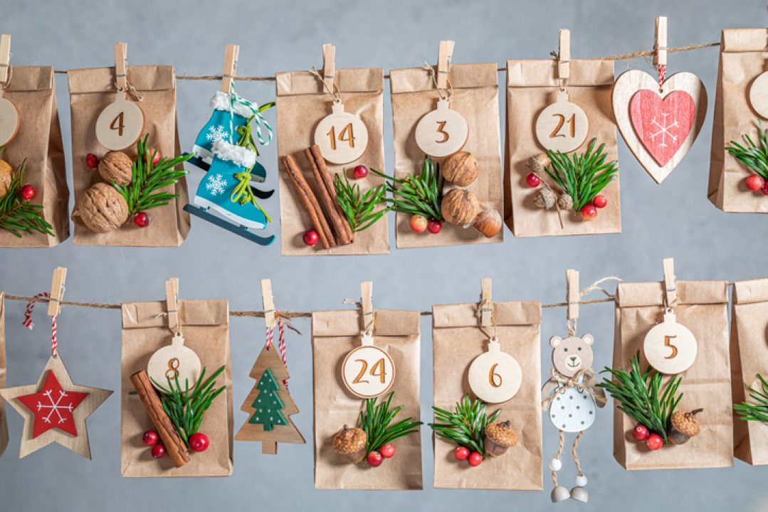 An advent season calendar for counting down the days to Christmas