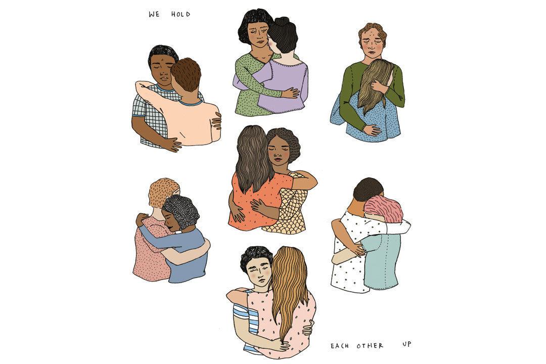 Illustration of people hugging each other