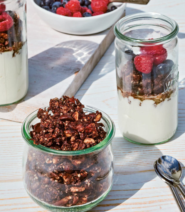 Double chocolate granola parfait