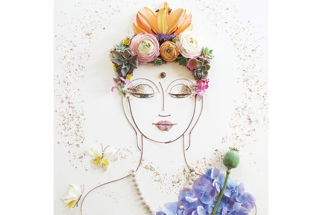 Floral buddha arrangement