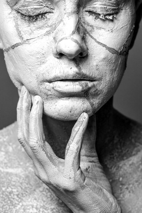 Face with cracked mud