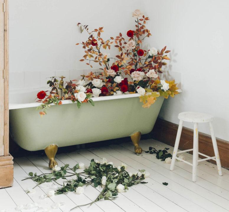 Flowers in the bathtub