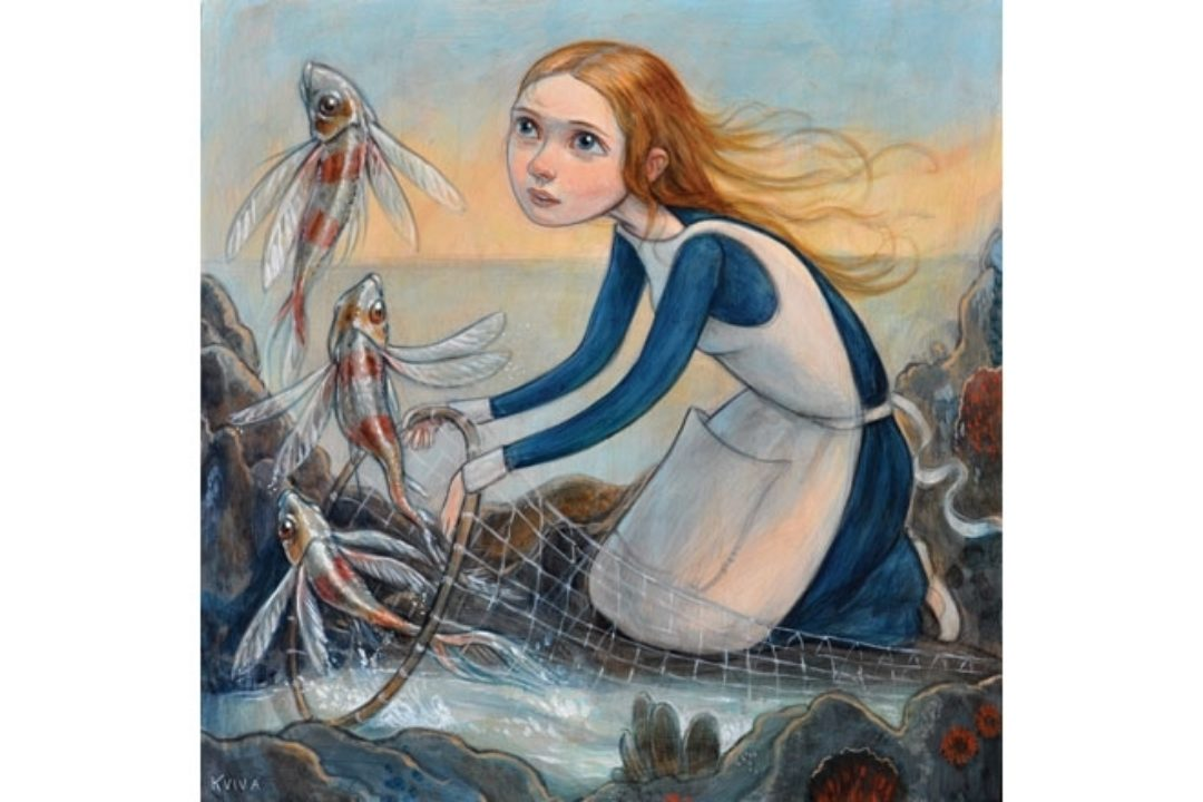 illustration of girl and fish