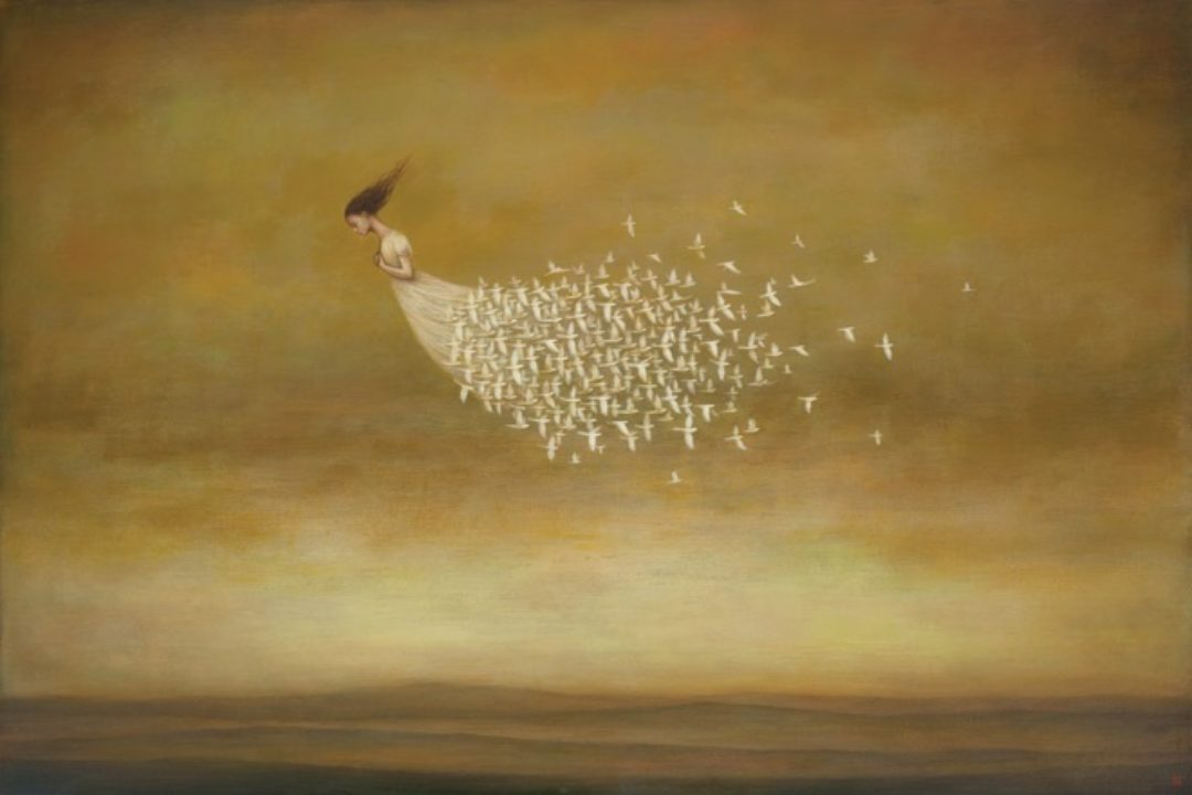 Illustration of woman in white with flying birds