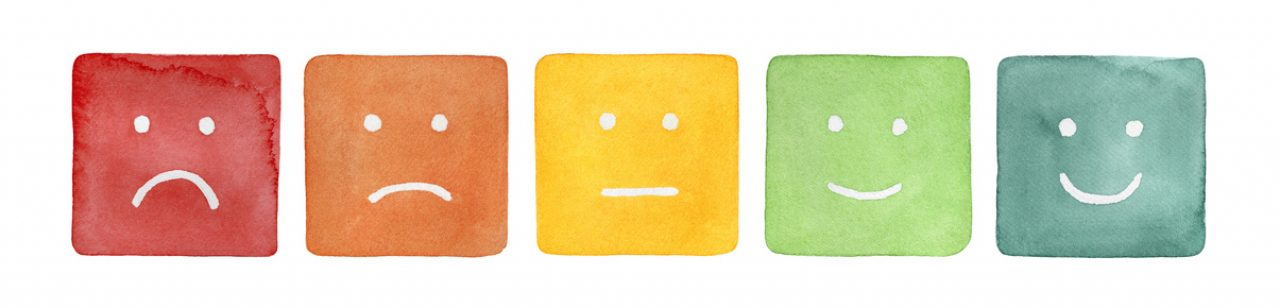 watercolor smiley face from angry to happy to rate your pain