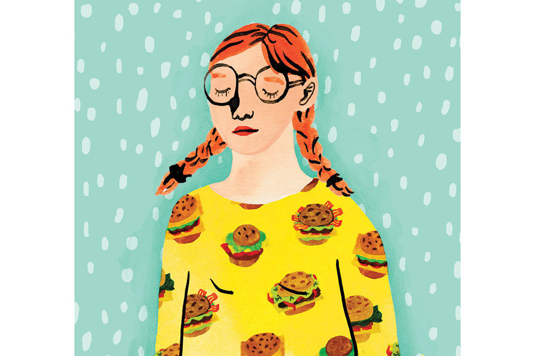 Illustration of girl with hamburger shirt