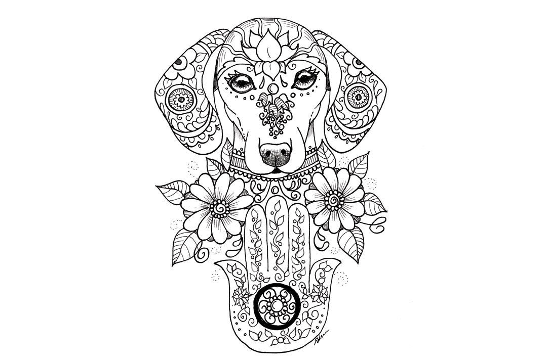 coloring book entry of dog and palm hamsa