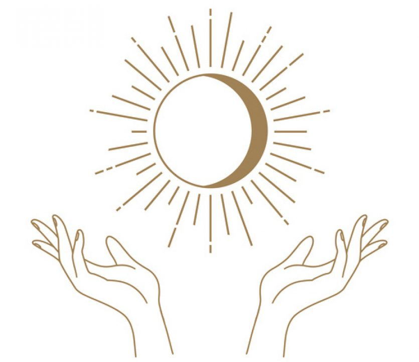 Hand reflexology points around a radiant waxing moon.