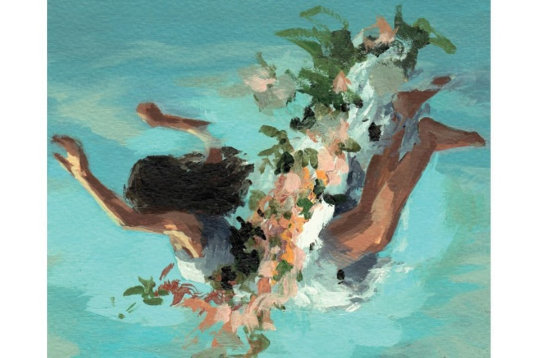 illustration of girl swimming with flowers